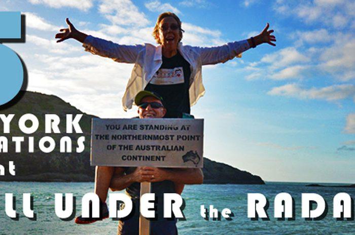 Lady on husbands shoulders at tip of Australia.
