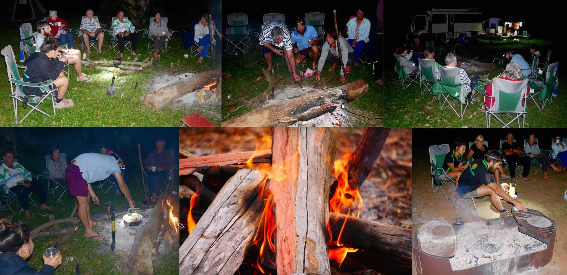 Collage of people at camp cooking.