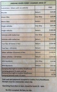 Ferry prices Jardine River
