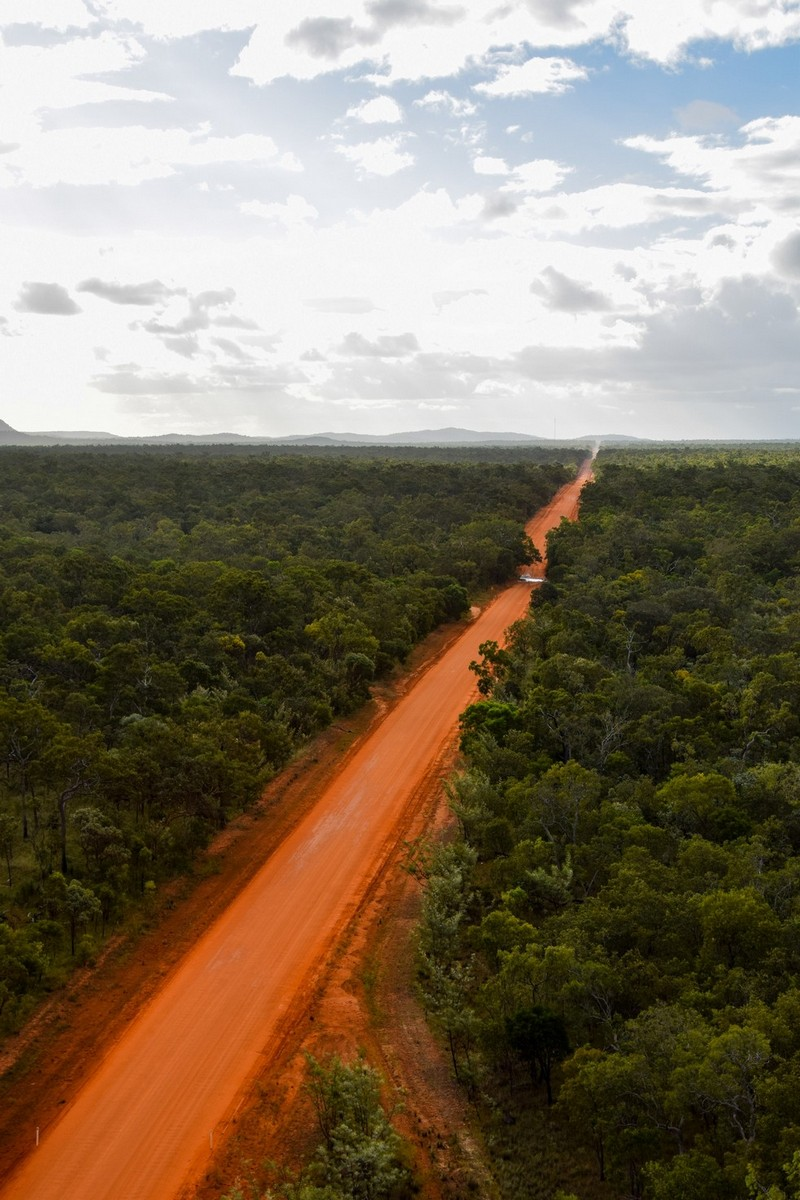 Aerial view of the Peninsula Development Road, Cape York.