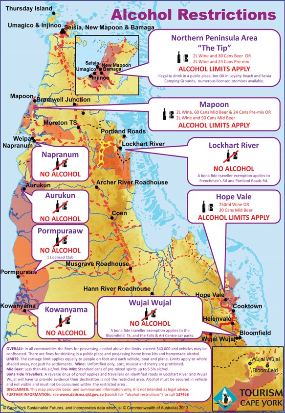 Map of restricted alcohol regions