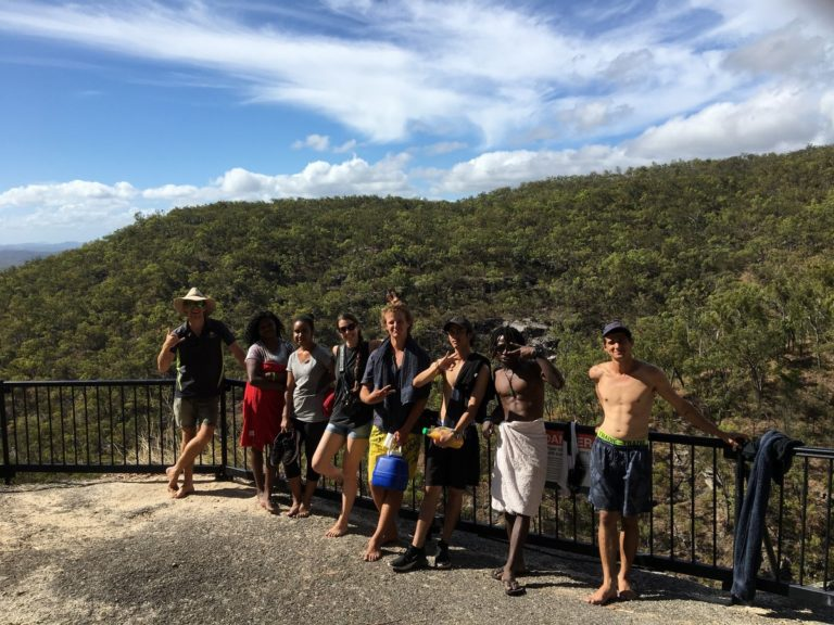 group of people at lookout