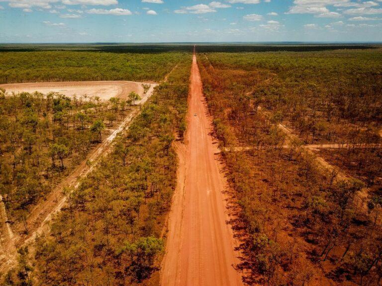 aerial image of red dirt road