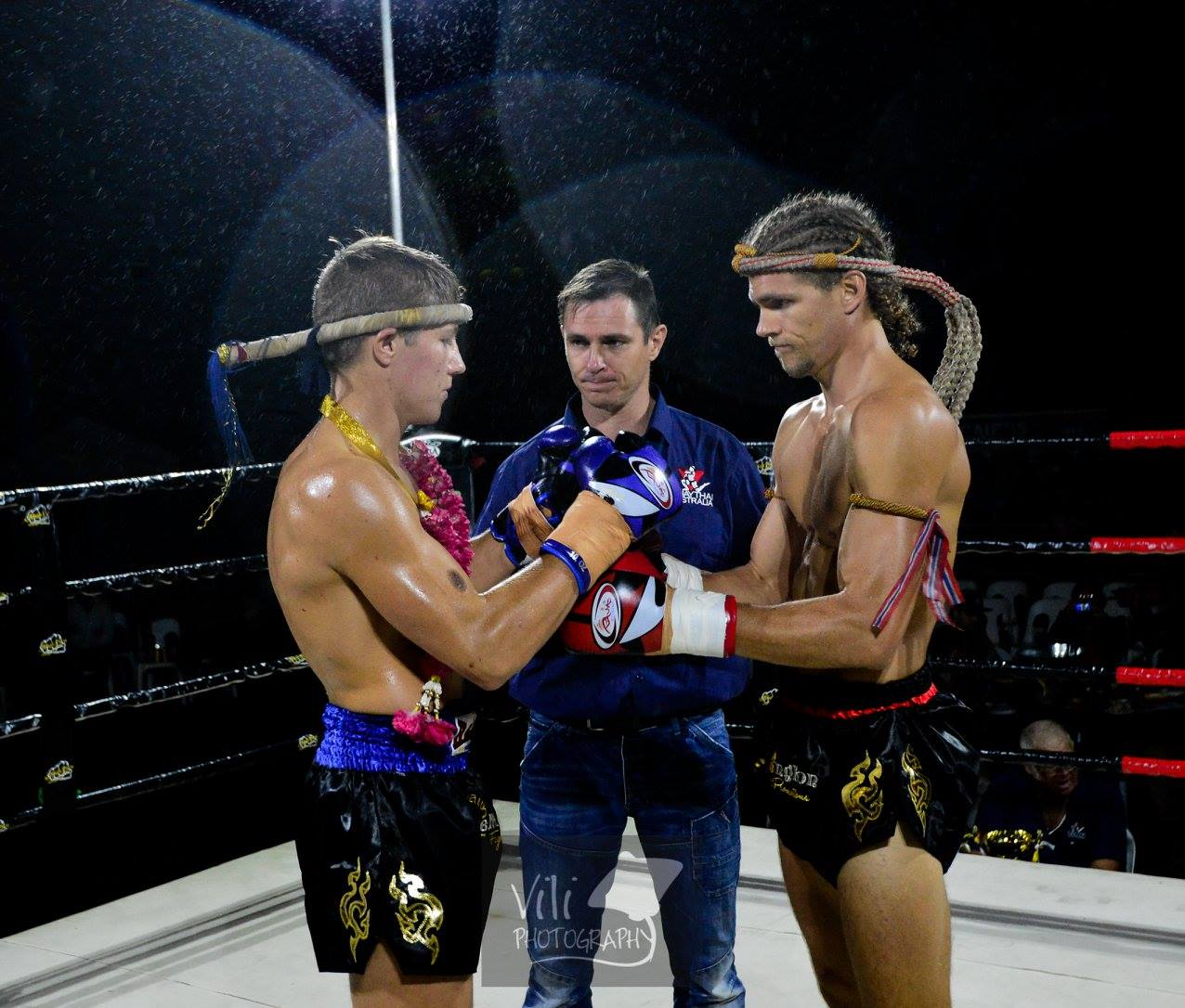 two men about to compete in muay thai