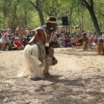 aboriginal man traditional dancing in cape york