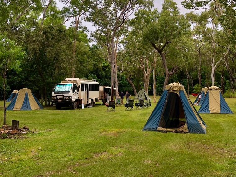 camp tents on a cape york tour