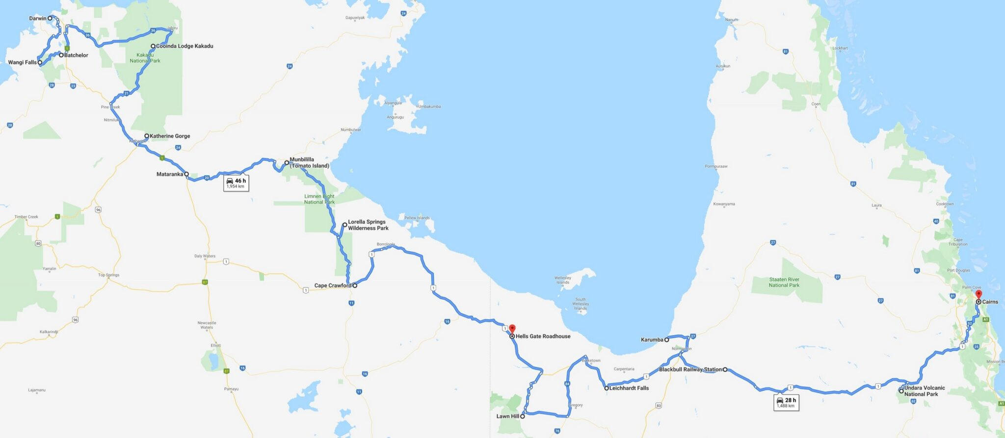 Map of Darwin to Cairns Gulf Savannah Tour