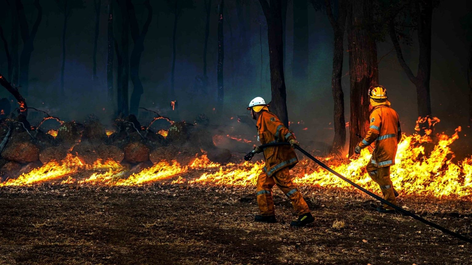 Firefighters fighting a blaze