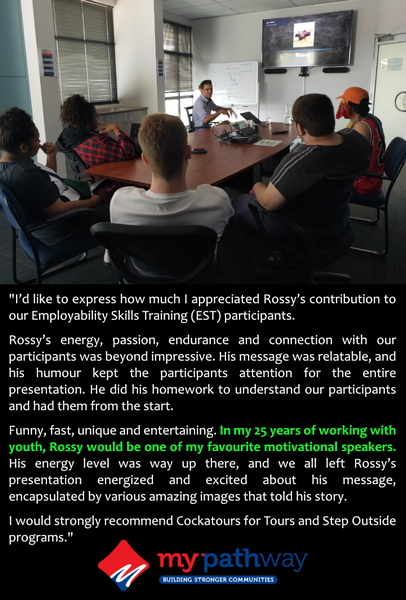 picture of man motivational speaking with review text