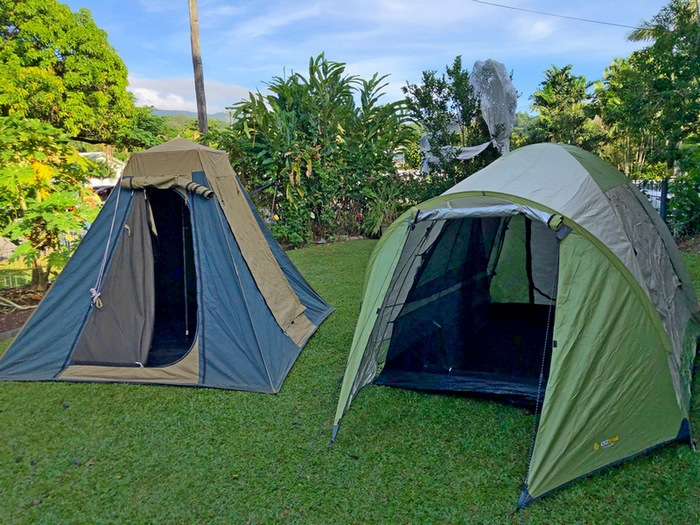 two types of tents set up