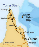 Cape York map showing camps
